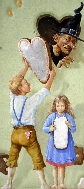 Détail de la façade peinte avec Hansel, Gretel et la sorcière