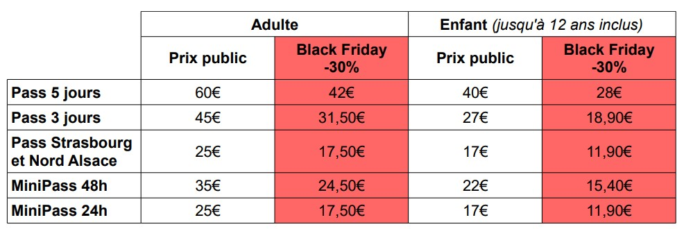 Tarifs Black Friday - Pass'Alsace 2020
